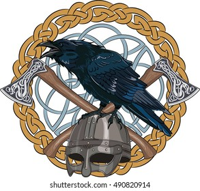Black crow sitting on a Viking helmet with two crossed axes on background Scandinavian pattern, vector illustration, eps-10