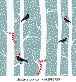 Black crows with christmas hats on the winter trees with christmas scarfs. Snowing. Seamless pattern. Vector illustration on grey background