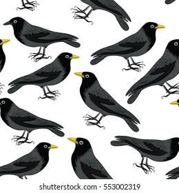 Black crows with yellow beaks seamless pattern. Vector illustration on white background