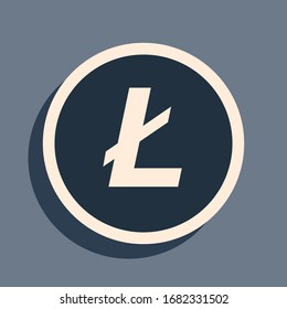 Black Cryptocurrency coin Litecoin LTC icon on grey background. Physical bit coin. Digital currency. Altcoin symbol. Blockchain based secure crypto currency. Long shadow style. Vector Illustration