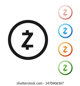 Black Cryptocurrency coin Zcash ZEC icon isolated on white background. Digital currency. Altcoin symbol. Blockchain based secure crypto currency. Set icons colorful. Vector Illustration