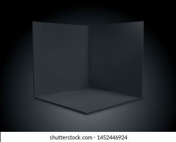 Black cube box 3D, corner room inside interior cross section. Vector black transparent empty geometric square 3D cube box inside template