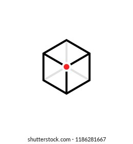 black cube logo with red point. concept of unique block design for brand or company and minimal isometric structure badge. flat stroke trend graphic lineart simple element for web isolated on white