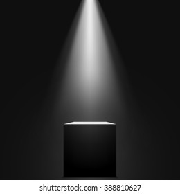 Black cube. Spotlight. Vector illustration.