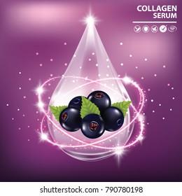Black currant collagen vitamin banner vector illustration