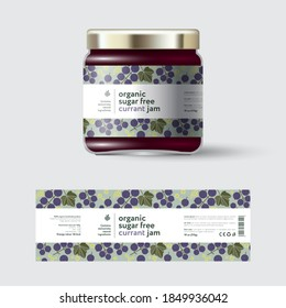 Black Currant Jam label and packaging. Jar with cap with label. White strip with text and on seamless pattern with berries, flowers and leaves.