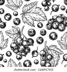 Black currant seamless pattern. Vector drawing. Isolated berry branch sketch.  Summer fruit engravedbackground. Detailed hand drawn vegetarian food. Great for packaging design, tea  or juice label