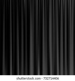 Black curtain background. Vector realistic black curtain.