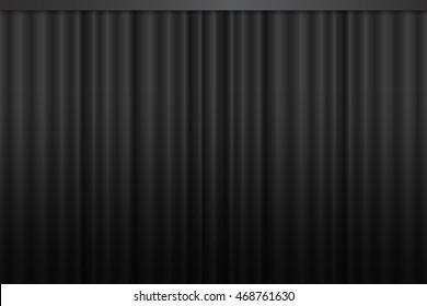 Black curtain vector.