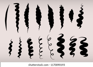 Black curves drawing with pen. Hand drawn collection. Black curly lines