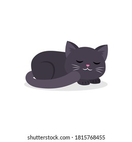 Black cute cat sleeping curled up in a ball in cartoon style. Vector illustration, isolated on white background.