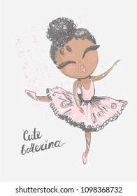 Black cute little ballerina. Surface design for kids . Vector graphic for children fashion clothing. Use for print, fashion wear