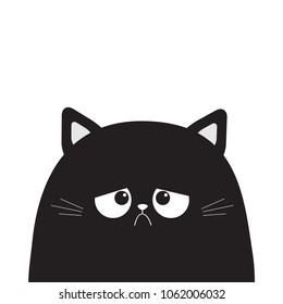 Black cute sad grumpy cat kitten silhouette. Bad emotion face. Cartoon kitty character. Kawaii funny animal. Love Greeting card. Flat design. White background Isolated. Vector illustration