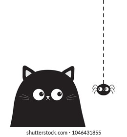 Black cute sitting cat kitten face head looking on hanging spider. Cartoon kitty funny character. Kawaii animal. Halloween Greeting card. Flat design. White background Isolated. Vector illustration