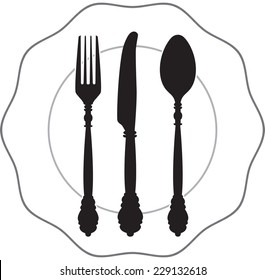 Black cutlery setting isolated on white background