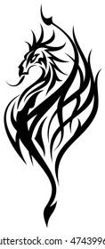 Black cutout tribal dragon tattoo vector illustration