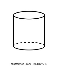 Black cylinder geometric figure shape projection of dashed and straight lines. Cylinder with side in form of circle and smooth surface isolated vector