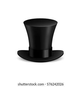 Black cylinder hat. Isolated on white background. Vector illustration, eps 10.