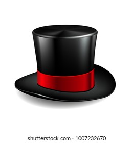 Black cylinder hat with red ribbon. Magic hat isolated on white background. Vector illustration