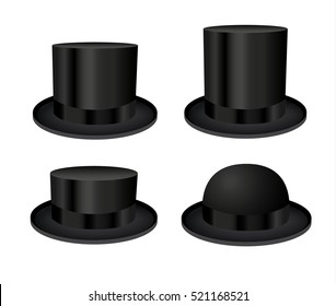 Black cylinder hats isolated on white background. Vector illustration of four man hats.