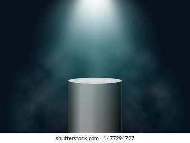 Black cylinder on dark background. Platform illuminated by spotlights. Vector template for your design.