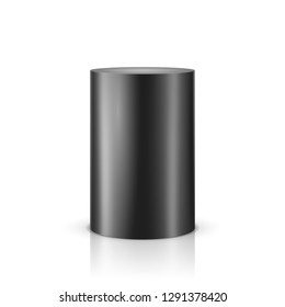 Black cylinder on light background. Vector template for your design.