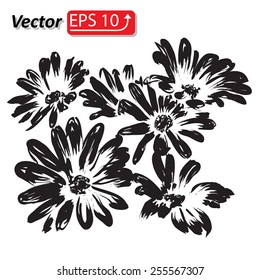 black daisy flower watercolor isolated on white background vector illustration