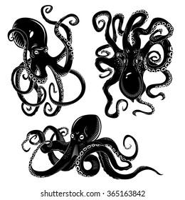 Black danger cartoon octopus characters with curling tentacles swimming underwater, isolated on white. Tattoo or pattern on a t-shirt, poster or logo, vector illustration
