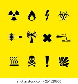 Black Danger symbols set on yellow background