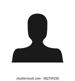 Black dark avatar silhouette default anonymous faceless unisex profile picture person human social media user icon on a white background simple trendy minimalistic flat isolated design vector image