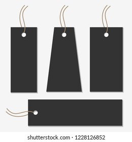 Black or dark gray gift tag collection in four different size and shape. Vintage present sticker.