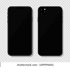 Black or dark grey new 2019 modern mobile phone mockup isolated on transparent background. Vector illustration