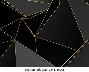Black dark Premium background with luxury polygonal pattern and gold triangle lines. Low poly gradient shapes luxury gold lines vector. Black Friday background, premium triangle polygons design