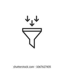 black data filter with three arrows. Flat data funnel line icon. isolated on white background. Analytics info, tunnel information, flow exploration, vector illustration