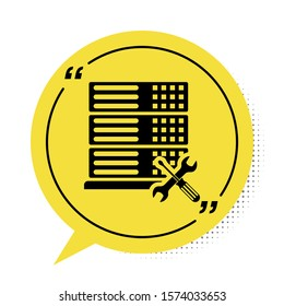 Black Database server with screwdriver and wrench icon isolated on white background. Adjusting, service, setting, maintenance, repair, fixing. Yellow speech bubble symbol. Vector Illustration