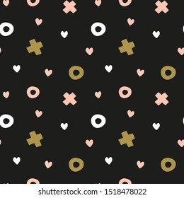 Black Valentine's day xo seamless pattern. Digital wrapping paper.  Minimalist pink, gold and black repeat textile design.