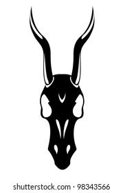 black death's head with horns horse white background vector