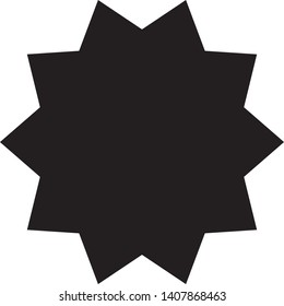 Black decagonal star on white background
