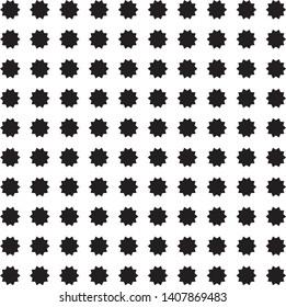 Black decagonal stars on white background