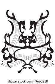 Black decorative element and lines