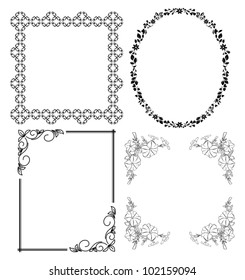 black decorative frames - vector set