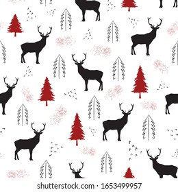 Black deer, dots and red christmas trees on white background. Seamless repeat christmas pattern for print, textile design or paper projects. Vector illustration.