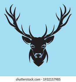 Black Deer Head Vector illustration