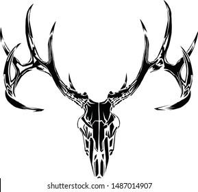 Black deer skull with antlers.