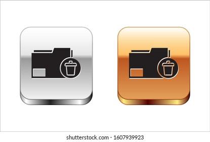 Black Delete folder icon isolated on white background. Delete or error folder. Close computer information folder. Silver-gold square button. Vector Illustration