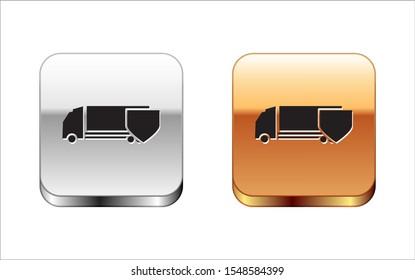 Black Delivery cargo truck with shield icon isolated on white background. Insurance concept. Security, safety, protection, protect concept. Silver-gold square button. Vector Illustration