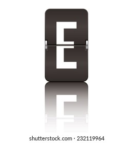 Black departure board letter e from a series of flipboard letters.