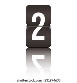 Black departure board number 2 from a series of flipboard numbers.