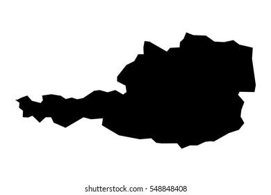 Black detailed map of Austria. Vector EPS 10 illustration