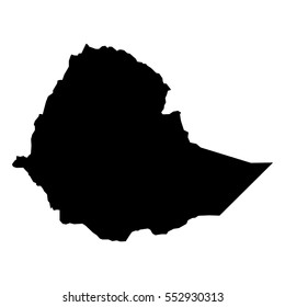 Black detailed map of Ethiopia. Vector EPS 10 illustration